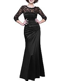 Miusol Women's Sheath Black Lace 3/4 Sleeves Pleated Wedding Gown Dress