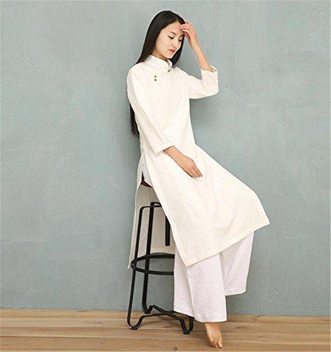 3c751d7376b4 Yoga Confortables Femme vêtements Tai Chi vêtements Lin Blanc Sports de Plein  air  Amazon.fr  Sports et Loisirs