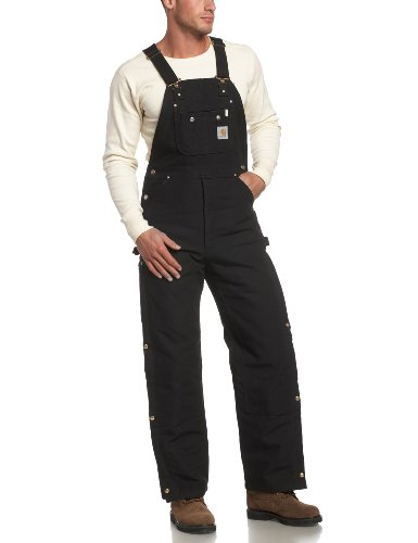 Carhartt Men's Quilt Lined Zip To Thigh Bib Overalls,Black,32 x 32
