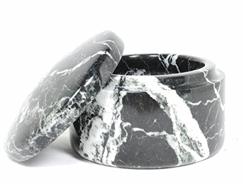 Black Marble Small Shave Soap Bowl with Matching Cover by Col Conk