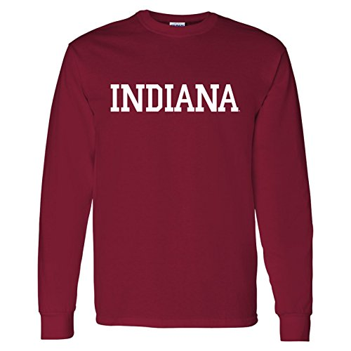 - Block Indiana Long Sleeve T-Shirt - Medium - Cardinal