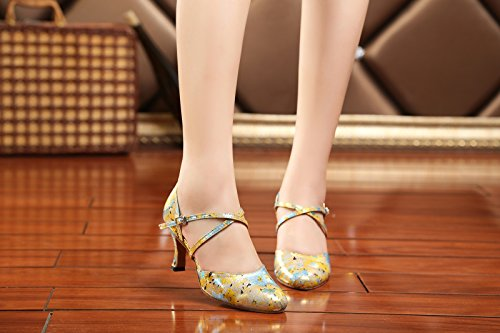 Womens Fashion Tango Round Gold Wedding Kevin Latin Toe Pumps Synthetic Salsa KL212 Shoes pTxaaqwCH
