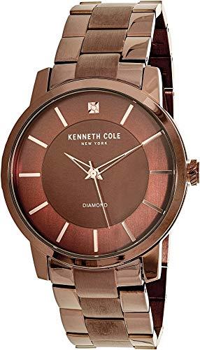Kenneth Cole New York Men's 'Diamond' Quartz Stainless Steel Watch, Color:Brown (Model: KC15114004