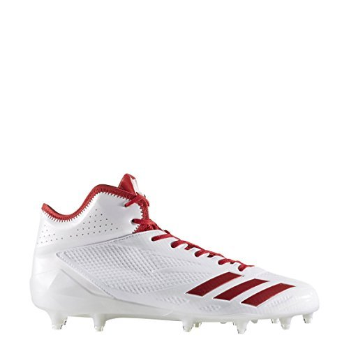Mid Cut Cleat - adidas Adizero 5Star 6.0 Mid Cleat Men's Football 10.5 White-Power Red-Power Red