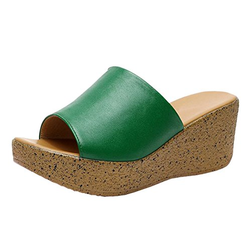 Green Toe Shoes (fereshte Women's Leather Peep Toe Open Back Wedge Heel Sandals Flatforms Beach Holiday Slippers Green EU35-US 5)