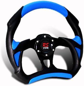 320MM Black PVC Leather Blue Stitch Sports Steering Wheel JDM Horn Hub Adapter