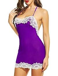 Avidlove Women Lingerie Halter Babydoll Strap Chemise Backless Sleepwear