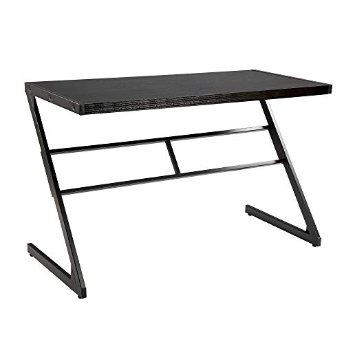 FIVEGIVEN Computer Gaming Desk Table Brownish Black Modern Industrial Simple Z Shaped Desk, 48 Inch