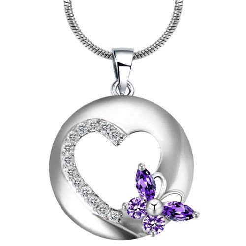 (Phonphisai shop Lady 925 Silver Filled Crystal Heart Butterfly Amethyst Pendant Chain)