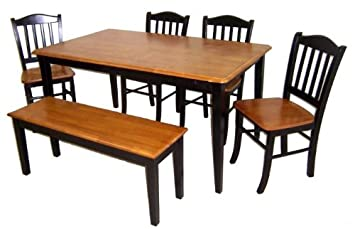 Amazon.com - Boraam 86536 Shaker 6-Piece Dining Room Set, Black ...