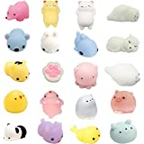 Suomer Squishy Toys, 20 Pcs Kawaii Squishies Mini Squishies Mochi Squishy Animals Stress Toys Panda Squishy Kawaii Squishy Cat Stress Reliever Anxiety Toys for Adults and Kids
