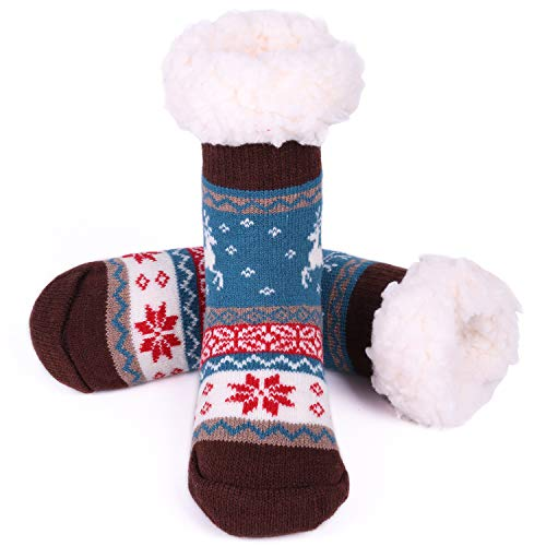 - Toddler Fuzzy Slipper Socks Fleece Lined Cozy Winter Baby Girls Boys Cute Thermal Warm Home Socks with Grippers Christmas Gift New Year Thick Animal Socks Grey ASS15
