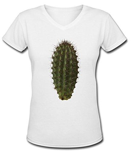 Cactus Blanc Coton Femme V-Col T-shirt Manches Courtes White Women's V-neck T-shirt