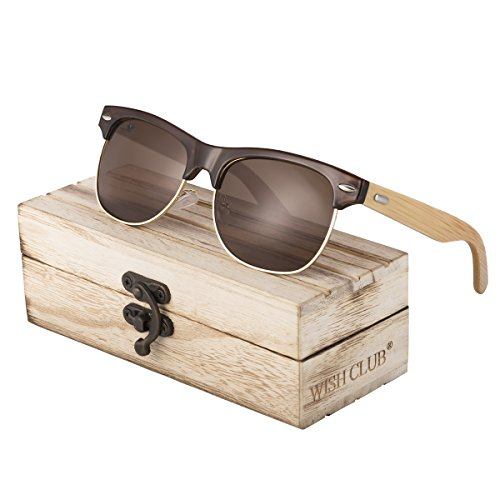 WISH CLUB Half Frame Handmade Wood Temple Square Wayfarer Sunglasses UV400 Protection Lenses Classical Style for Women and Men Adults Wooden Bamboo Vintage Light Retro Sun Glasses with Box (Brown) (Half Frame Sunglasses Wayfarer)