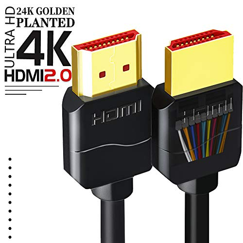 - 4K HDMI Cable 2.0 Ready[High Speed, Gold-Plated]HDMI to HDMI Cord 30AWG Supports(4K@60HZ,1080p FullHD,UHD/Ultra HD,3D,High Speed with Ethernet,Audio Return(ARC),Fire TV,Blu-ray,PS4,XBOX,HDTV) (6.6FT)