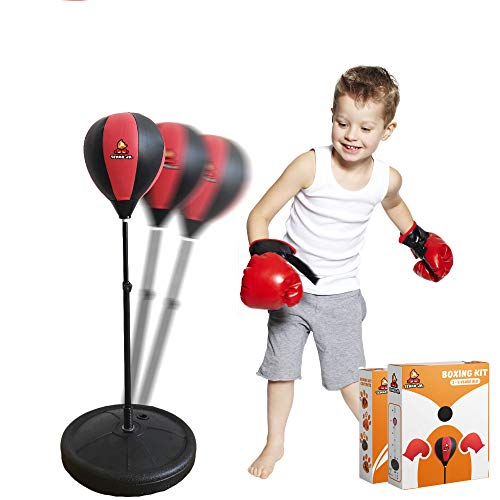 TENKO JR. Kids Punching Bag with Stand / Adjustable Height (3-10 Years Old) – Includes Kids Boxing Gloves + Air Pump…