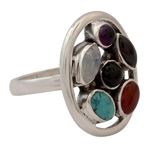 NOVICA Multi-Gem Calcite .925 Sterling Silver Ring, Joyful Mix' (Calcite Ring)