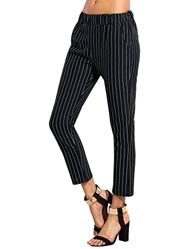 Pinstripe Pants Suit (SweatyRocks Women's Slim High Waist Striped Pinstripe Peg Pants Capris Pants (Large, Black))