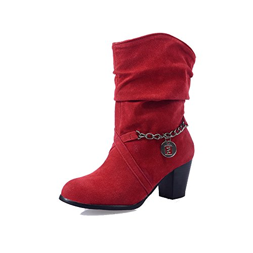 Solid Women's Closed Boots Toe Kitten Heels Imitated Round Red top Suede WeenFashion Low 4d8UaqE4w