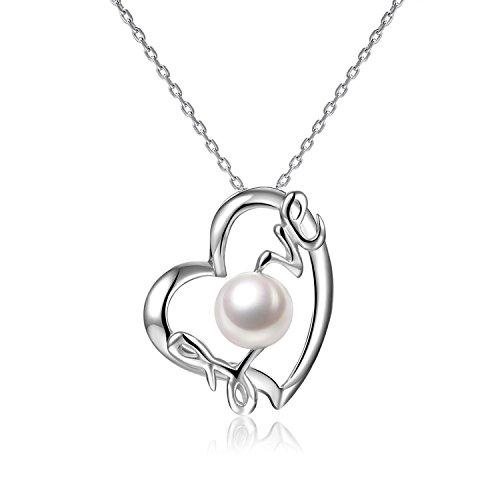 VIKI LYNN Damen Kette Herz Kette Perlenkette Sterling Silber 925 Perlen Halskette Perlenkette mit echte Suesswasser Perlen Herz Anhaenger Muttertag Geschenk