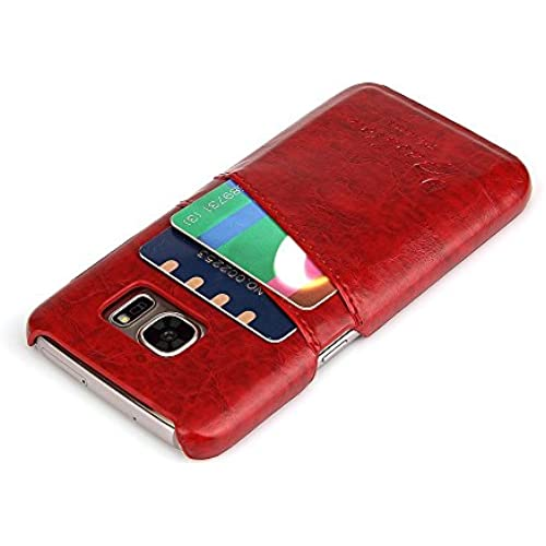 Weston Jewelers Synthetic Leather Ultra Slim Professional Executive Snap On Cover with 2 Card Holder Slots Wallet Card Case for Samsung Galaxy S7 Phone (Red) Sales