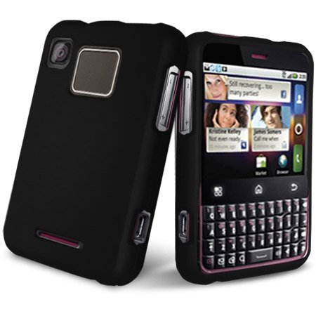 Black Rubberized Hard Case Phone Protector Cover For Motorola Charm MB502 T Mobile