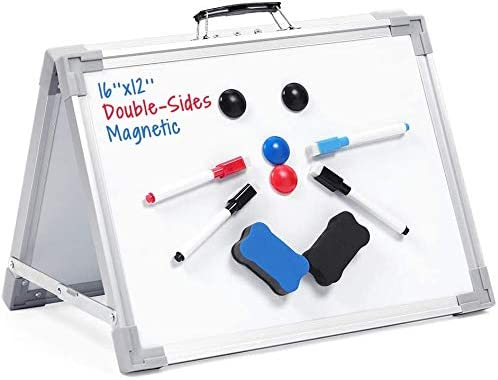 Small Dry Erase White Board, IPARTS EXPERT 12″X16″ Small Desktop White Board Magnetic Desktop Foldable Whiteboard Double-Sided Portable Mini Easel for Kids Drawing Teaching Memo Home Office