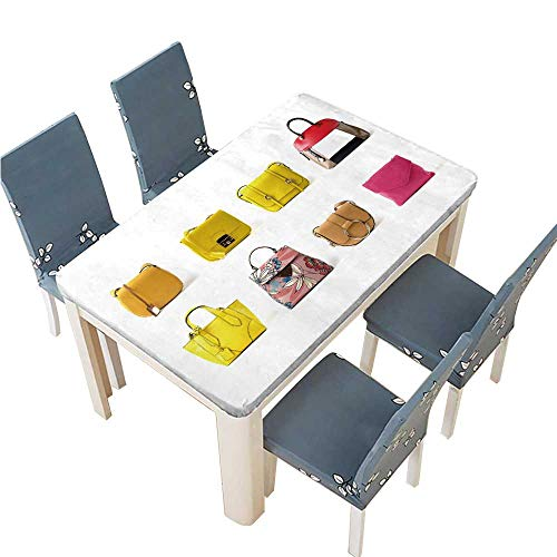 PINAFORE Polyester Women Leather Color Handbags Isolated on White Background Linen Cotton Tablecloths for Kitchen Room W25.5 x L65 INCH (Elastic Edge)
