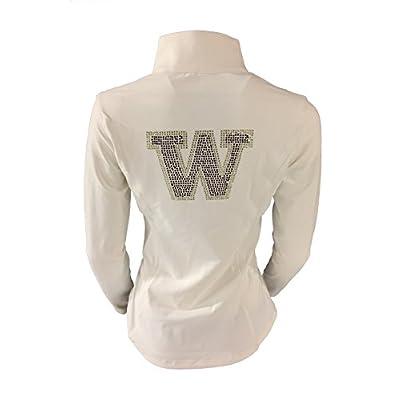 Twin Vision Activewear Washington Huskies Rhinestone Yoga Track Jacket White at Women's Clothing store