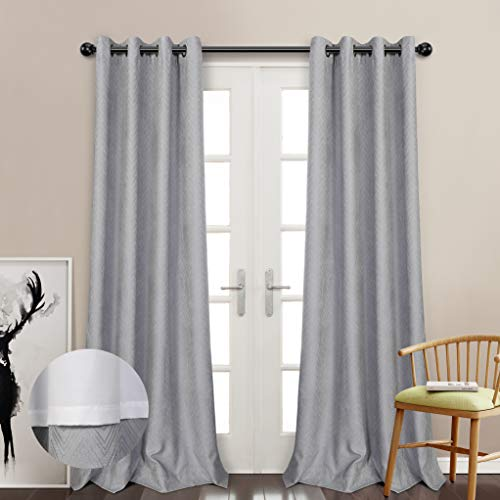 MYSKY HOME Thermal Lined Grey Curtain Preminum Faux Velvet J