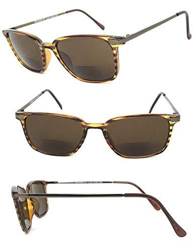 1 Pair Fashion Square Inner Bifocal Tinted Sun Reader Reading Sunglasses (Tortoise Brown/Gunmetal, 1.00) ()
