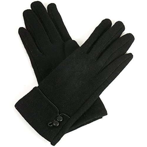 Alpine Swiss Womens Wool & Leather Trim Touch Screen Dressy Button Gloves Blk L