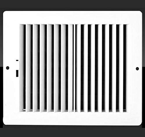Off White 8w X 4h Never Rust Plastic 2-Way-Vertical Air Supply Register Outer Dimensions: 9.75w X 5.75h HVAC Vent Duct Grille