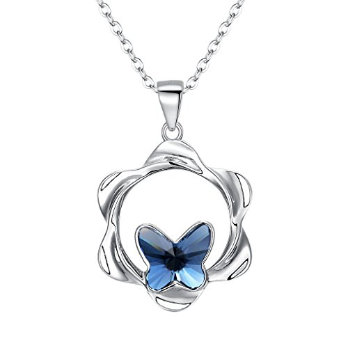 Adorned 925 Sterling Silver Pendant - EVER FAITH 925 Sterling Silver Flower Butterfly Pendant Necklace Blue Adorned with Swarovski Crystal