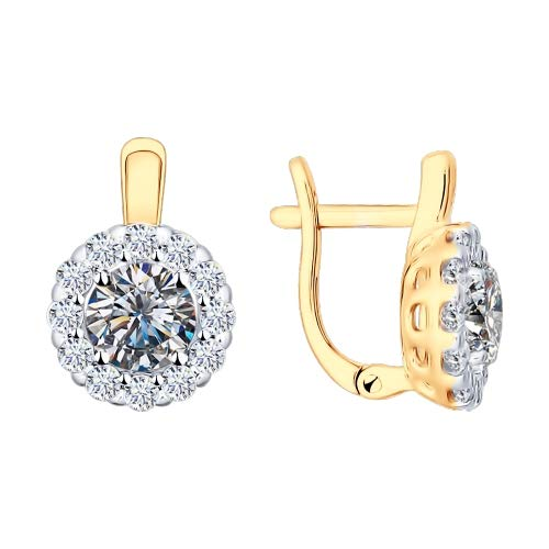 Paradis Love Sokolov Gold Plated Sterling Silver .925 Round Halo Earrings w/Cubic Zirconia Crystals