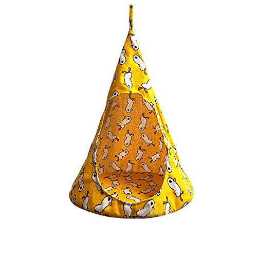 laamei Cat Tent Hammock, Cat House Bed, Pet Triangle Bed Hanging Cone Shaped Cave Beds with Steel Ring Removable Cushion for Puppy Kitten Rabbits Cats Small Yellwo Duck (131317 Inches)