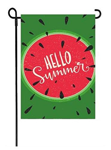 LHSION Hello Summer Garden Flag 12.5 x 18 - Watermelon Seasonal Garden Flag Decorative House Yard Double Sided Flag for Summer Decoration