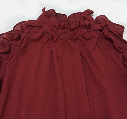 Dnude Printemps New et Manches Unie Rouge Sexy Automne paule T Blouses Chemisiers Femmes Tops Couleur Vin Haut Longues Shirts 1aOFExSq