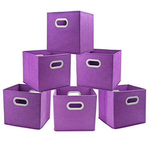 Cloth Storage Bins, Homyfort Foldable Basket Cubes Organizer Container Drawers with Dual Plastic Handles for Closet, Bedroom, Toys, 6 Pack,Purple