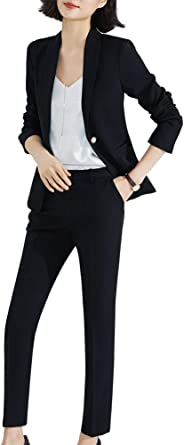 SUSIELADY Womens Two Piece Plaid Open Front Long Sleeve Blazer and Elastic Waist Pant Set Suit