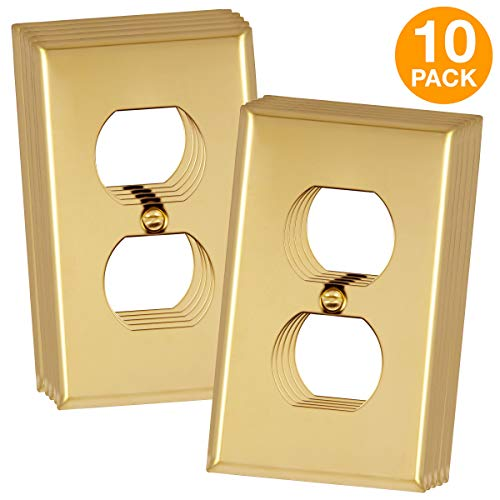 """ENERLITES Duplex Receptacle Outlet Metal Wall Plate, Corrosive Resistant, Size 1-Gang 4.50"""" x 2.76"""", 7721-PB-10PCS, 302 Polished Brass (10 Pack)"""