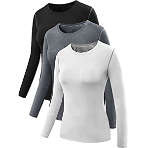 Neleus Women's 3 Pack Dry Fit Athletic Compression Long Sleeve T Shirt,Black,Grey,White,Large