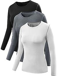 Neleus Women's 3 Pack Skin Tight Base Layer Compression Workout Shirts