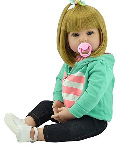 NPK Realistic Reborn Toddlers Dolls Girls Blond Hair Look Real Soft Vinyl Toddler Dolls Silicone 24 Inches with Clothes Blonde Baby Doll Wig