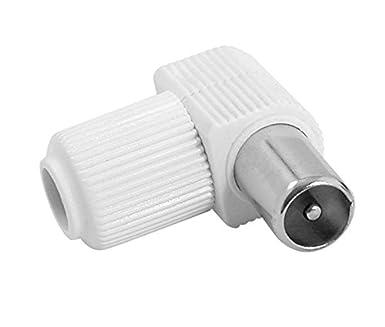 Conector macho TV antena coaxial (blanco, acodado) (10 ...