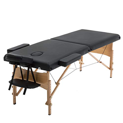 (BestMassage Table Massage Bed Spa Bed 73 Inch Heigh Adjustable 2 Folding Portable Massage Table W/ Carry Case Salon Bed)