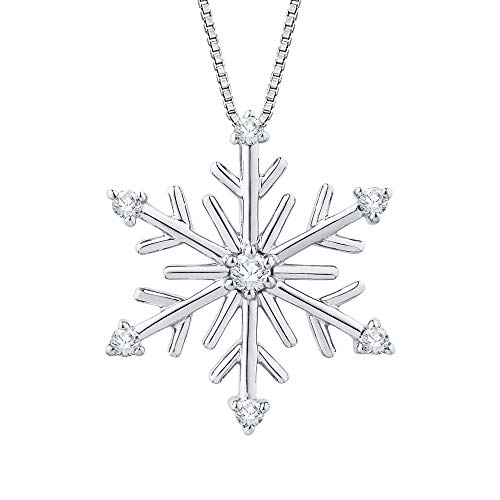 Diamond Snow Flake Pendant Necklace in Sterling Silver (1/10 cttw,G-H, I3-I4)