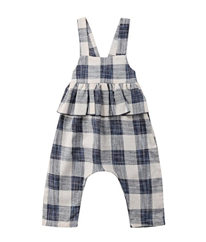Toddler Kids Baby Girl Stripes Bell-Bottom Jumpsuit Romper Overalls Pants Outfits (Plaid, -