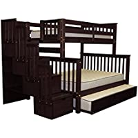 Bedz King Stairway Bunk Beds Twin over Full with 4 Drawers in the Steps and a Full Trundle, Cappuccino