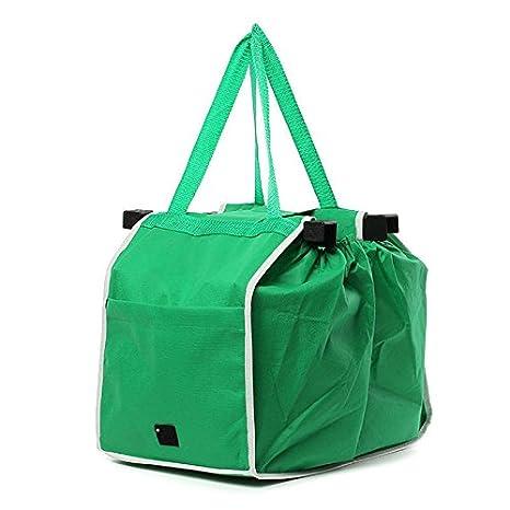 TOOGOO Bolsa de compras grande Bolso plegable Clip trolley reutilizable al carrito Bolsa de comestibles verde: Amazon.es: Juguetes y juegos